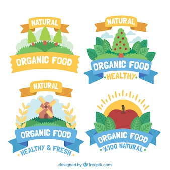 Set of four colored organic food stickers