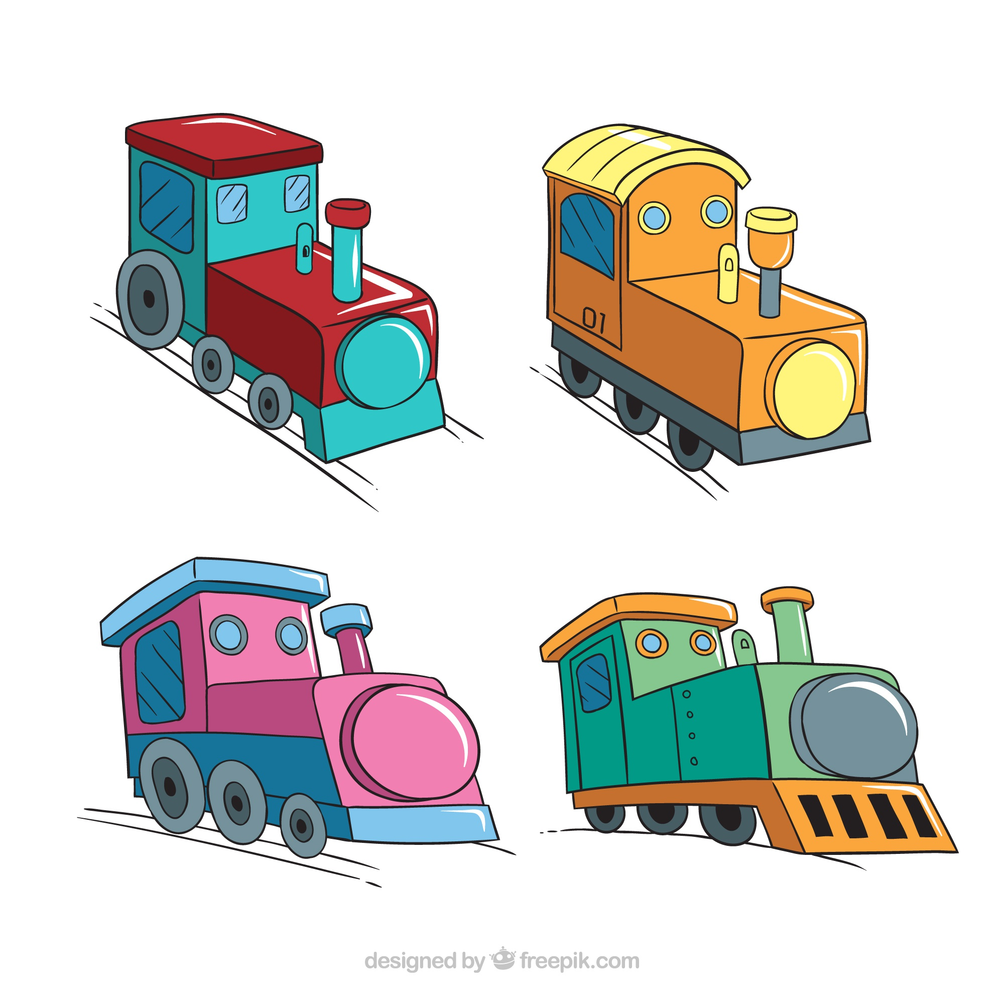 Set of four colored toy locomotives