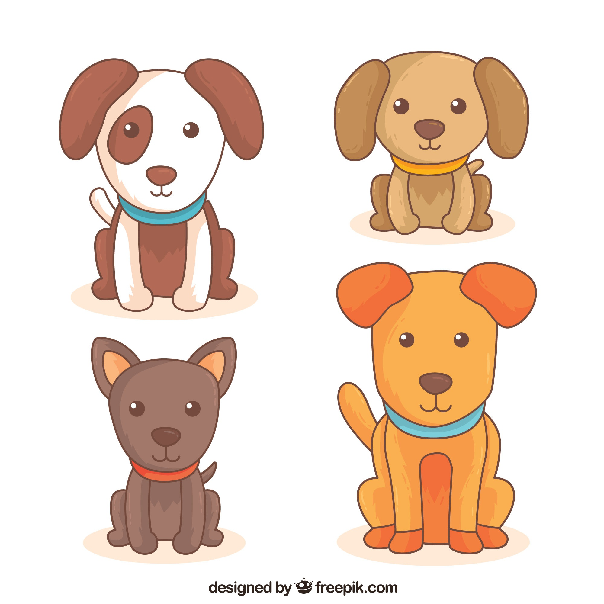 Set of four cute dogs of different breeds