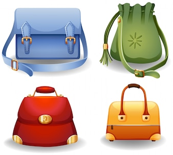 Set of four different style of female fashion bags