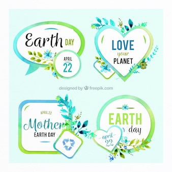Set of four earth day stickers