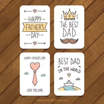 Set of four father's day greeting cards in flat design