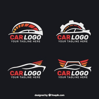 Set of four flat car logos with red elements