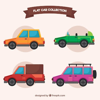 Set of four flat cars in vintage style