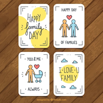 Set of four flat greeting cards for family day