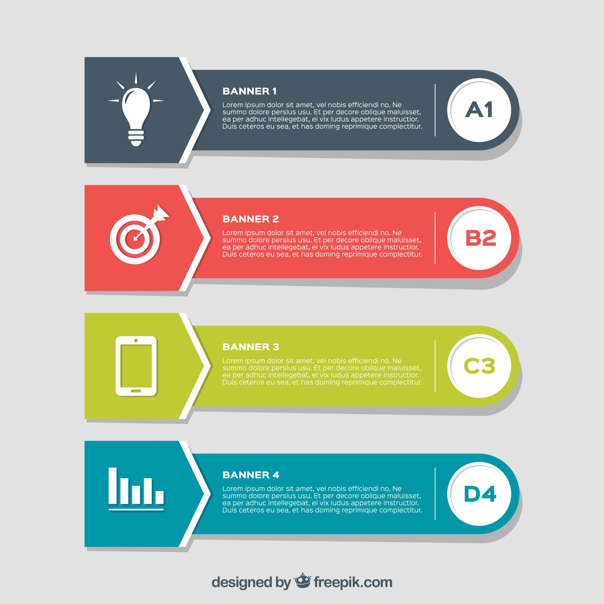 Set of four flat infographic banners with different colors