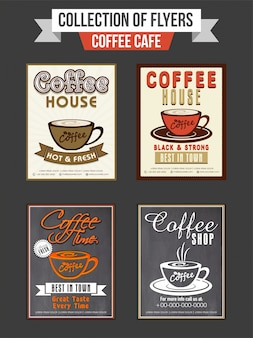 Set of four flyers or templates design for Coffee Shop