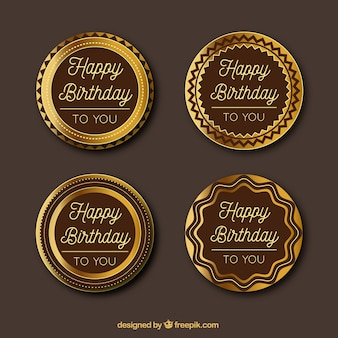 Set of four golden birthday stickers