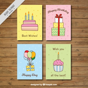 Set of four great birthday cards