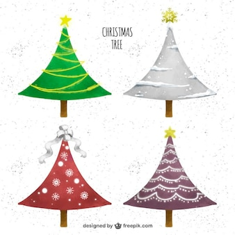 Set of four great christmas trees in vintage style