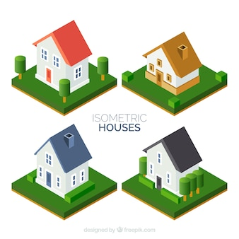 Set of four great houses with garden in isometric design