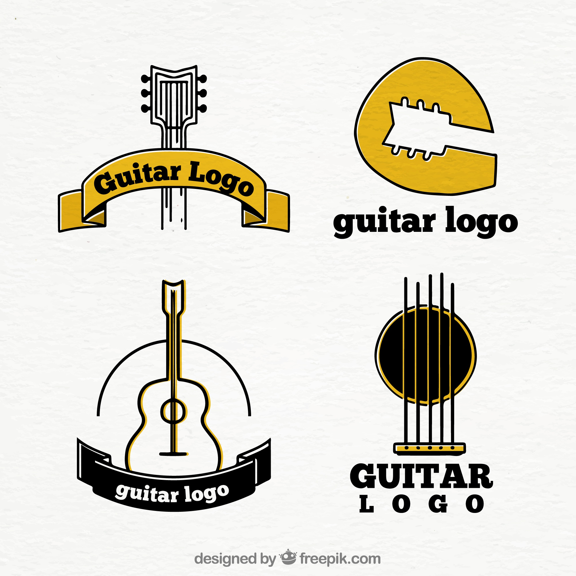 Set of four guitar logos with yellow details