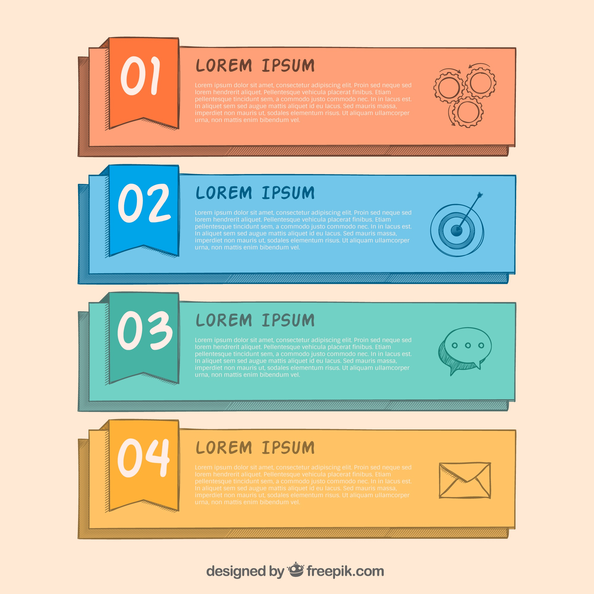 Set of four hand-drawn infographic banners with different colors