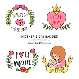 Set of four hand-drawn stickers for mother's day
