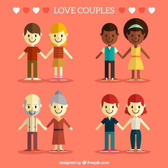 Set of four happy couples in flat style