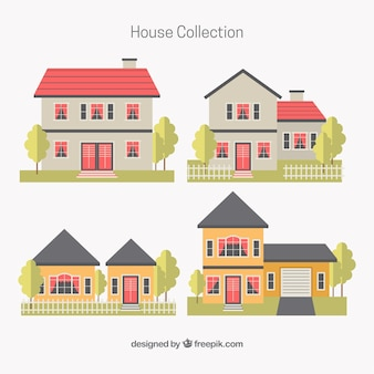 Set of four houses in flat design