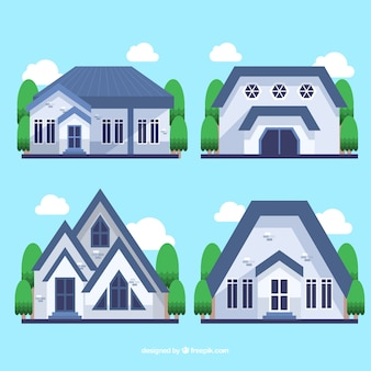 Set of four houses with blue roof