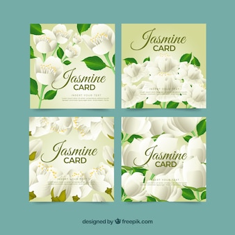 Set of four jasmine cards
