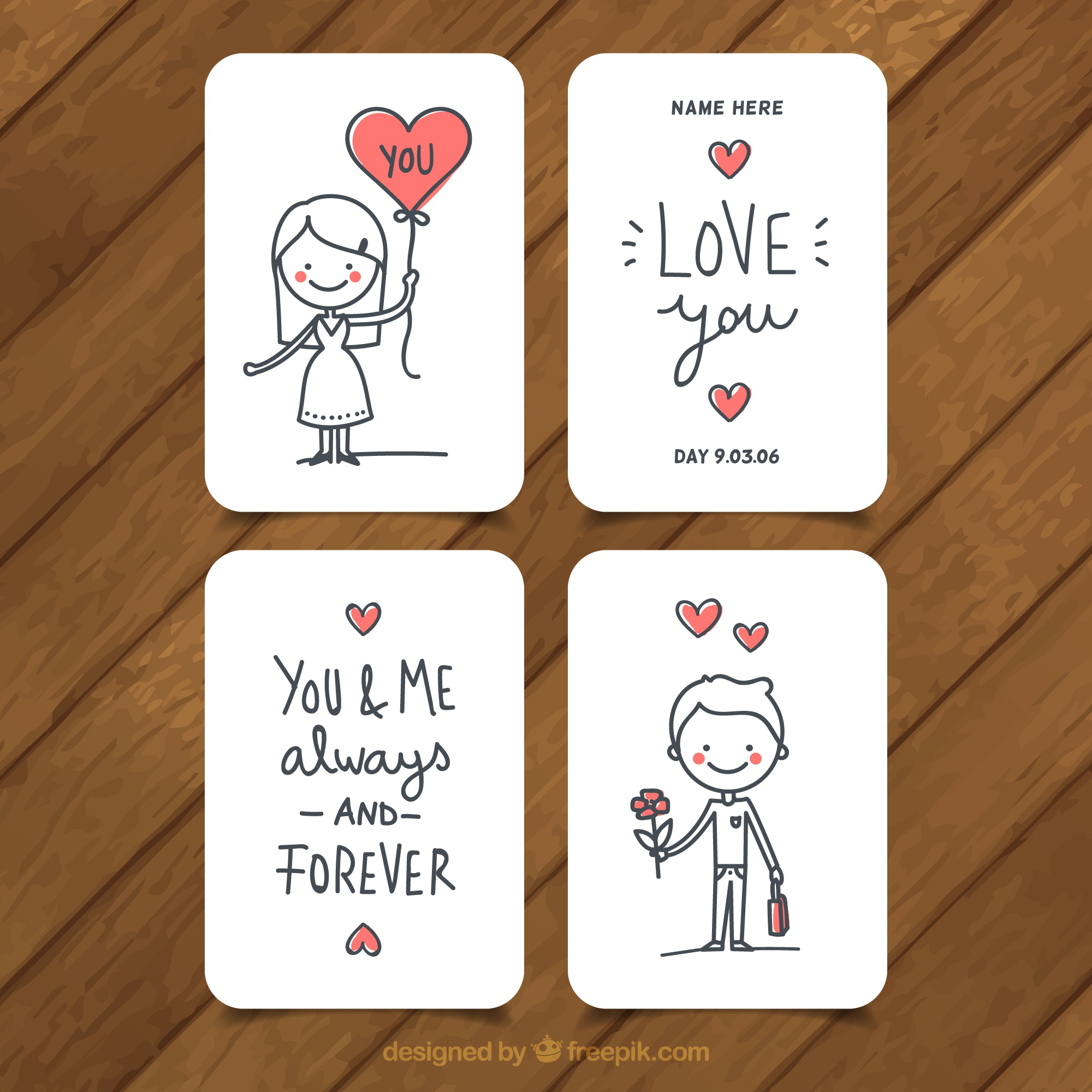 Set of four love cards with red hearts