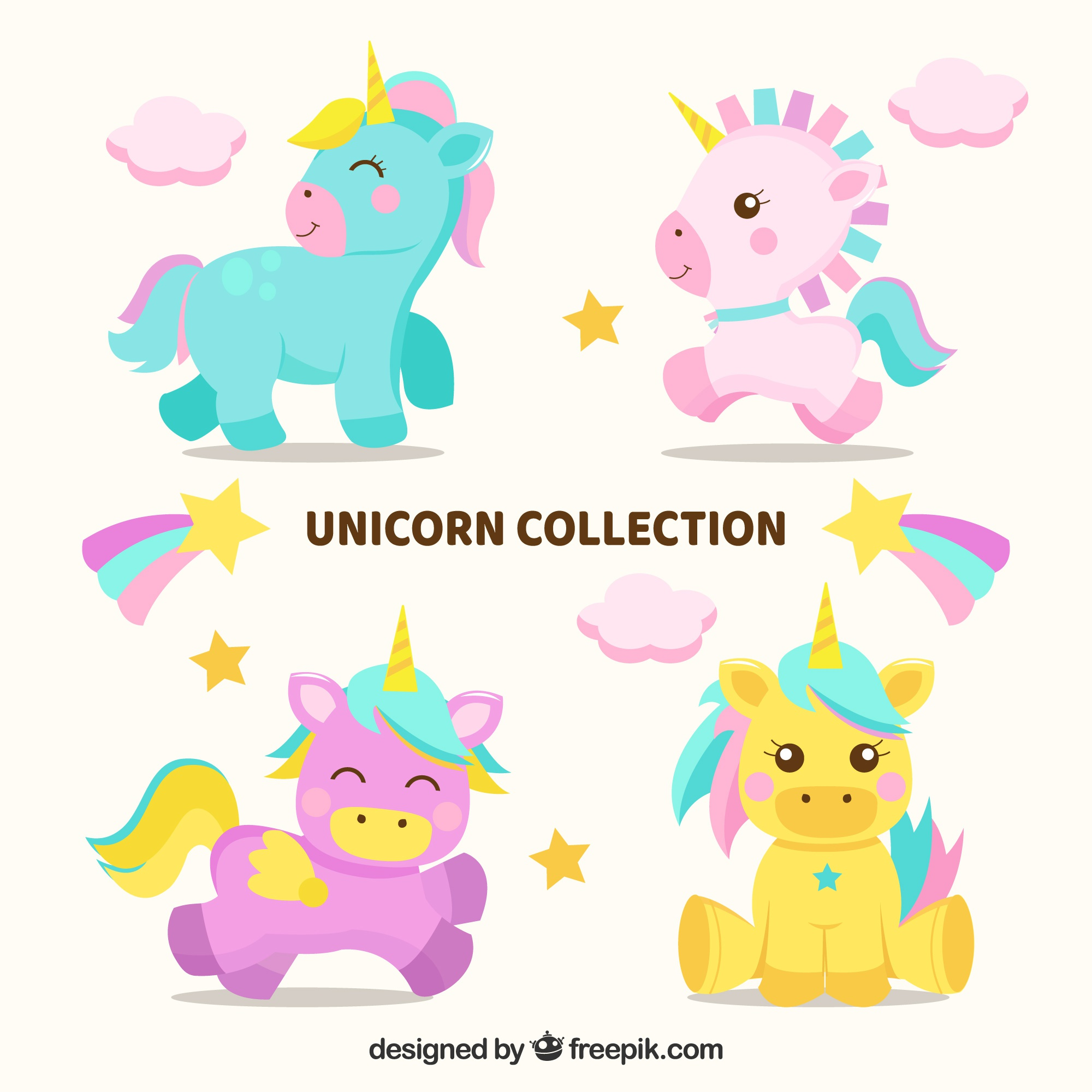 Set of four lovely baby unicorns