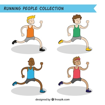 Set of four men running in hand-drawn style