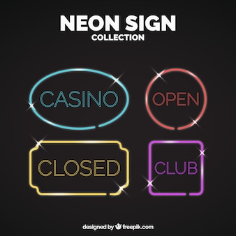 Set of four neon lights signs with different colors