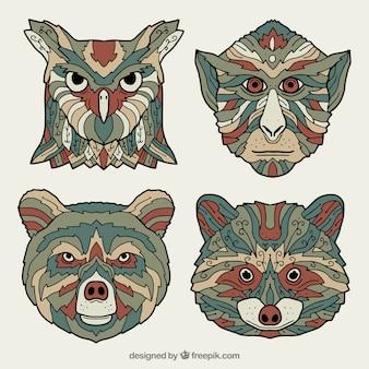 Set of four ornamental animals