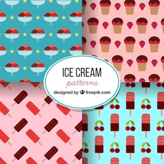 Set of four patterns with variety of ice creams