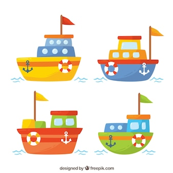 Set of four pretty boats of colors