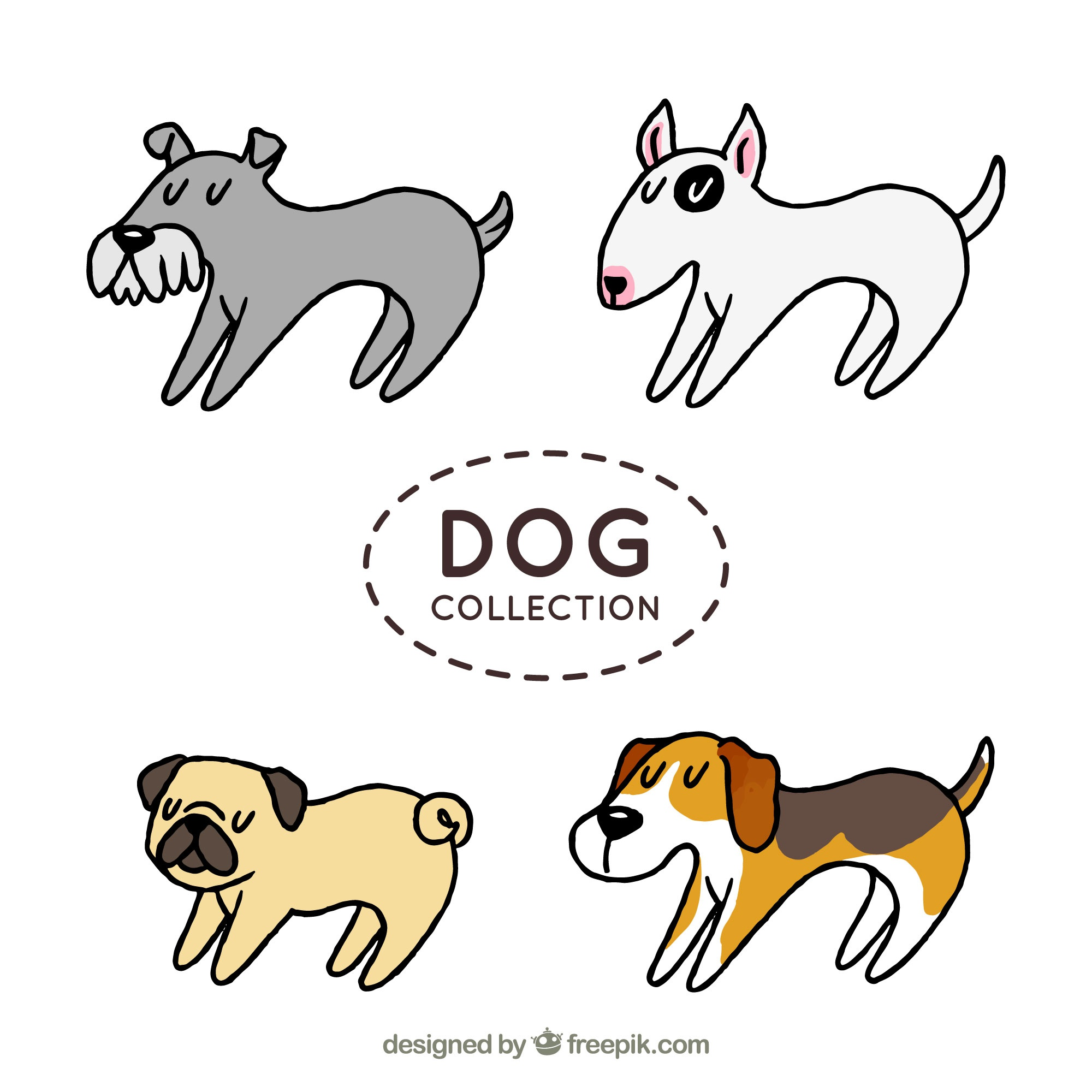 Set of four profile dogs in hand-drawn style
