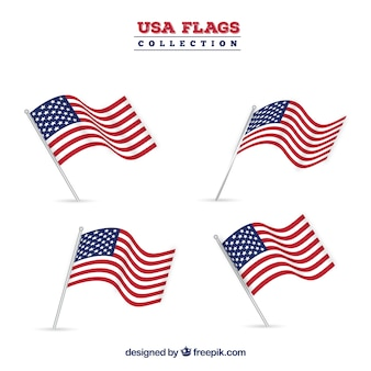Set of four realistic united states flags