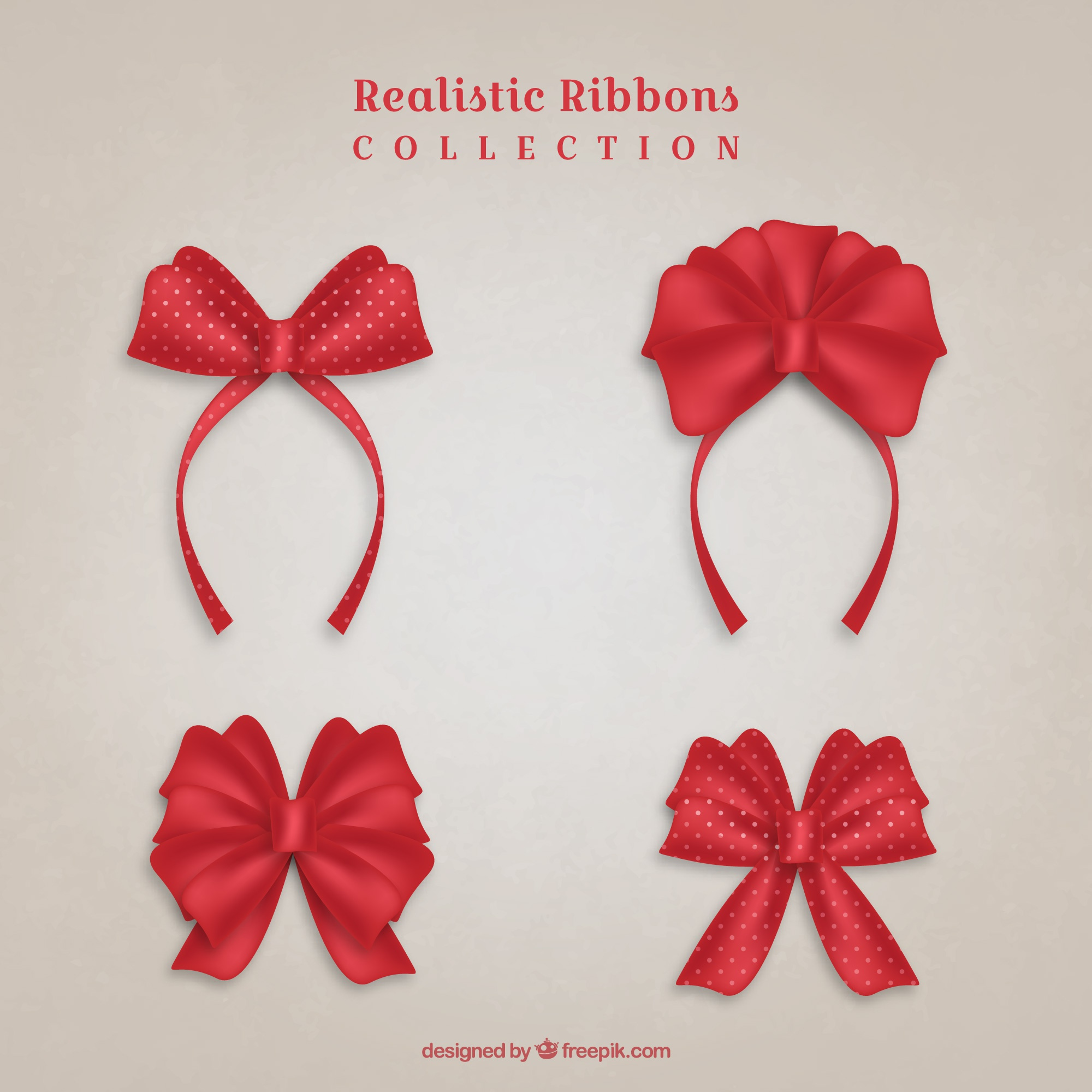 Set of four red ribbons in realistic style