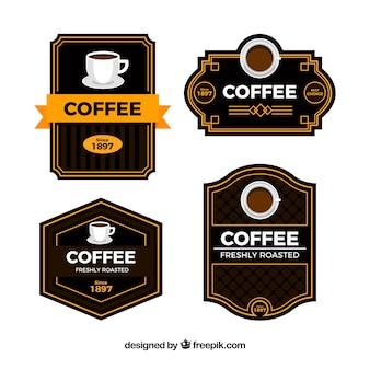 Set of four retro coffee stickers