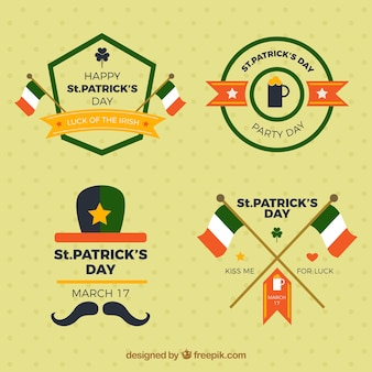 Set of four saint patrick's day badges