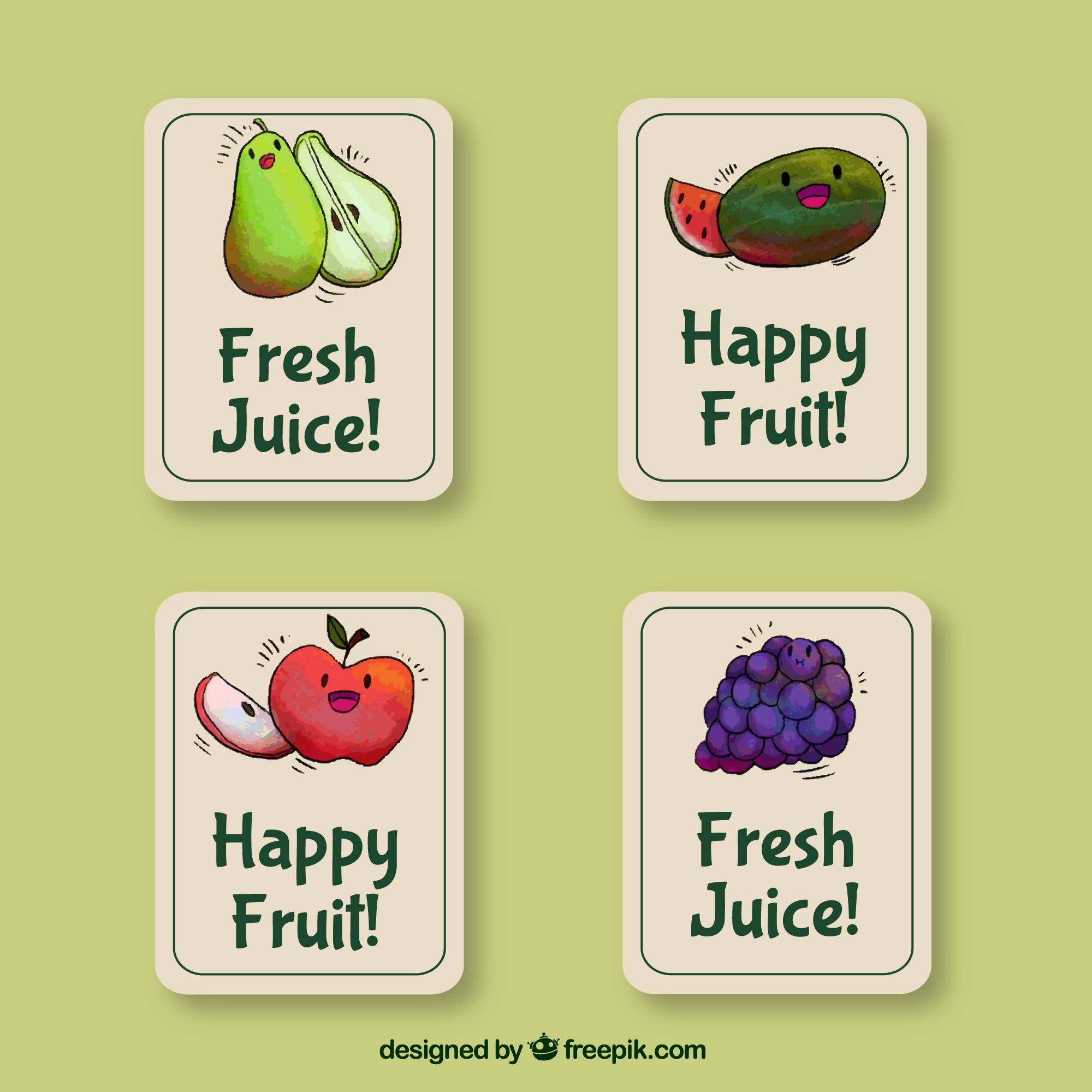 Set of four stickers with watercolor fruits