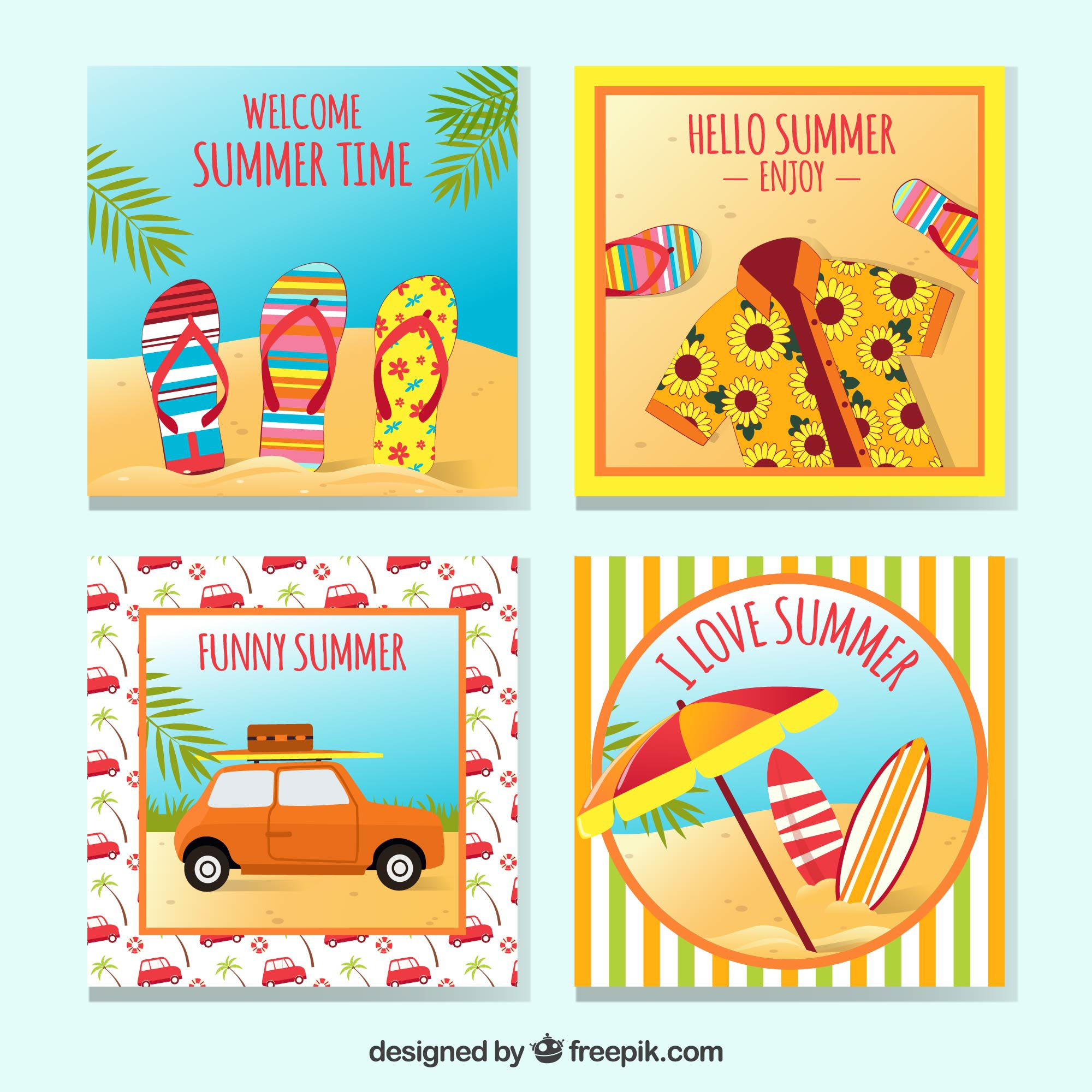 Set of four summer cards with decorative items