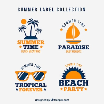 Set of four summer stickers in retro style