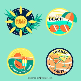 Set of four summer stickers