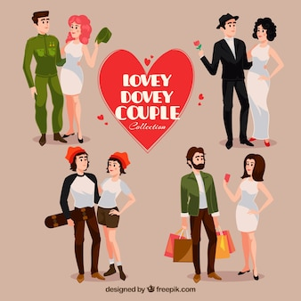 Set of four types of couples