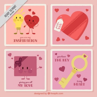 Set of four valentine cards with cute characters