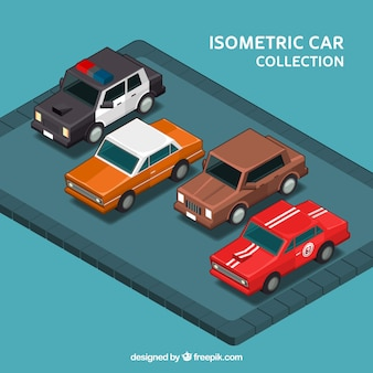 Set of four vintage cars in isometric style