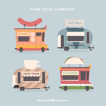 Set of four vintage food trucks