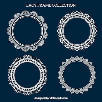 Set of four vintage lace frames