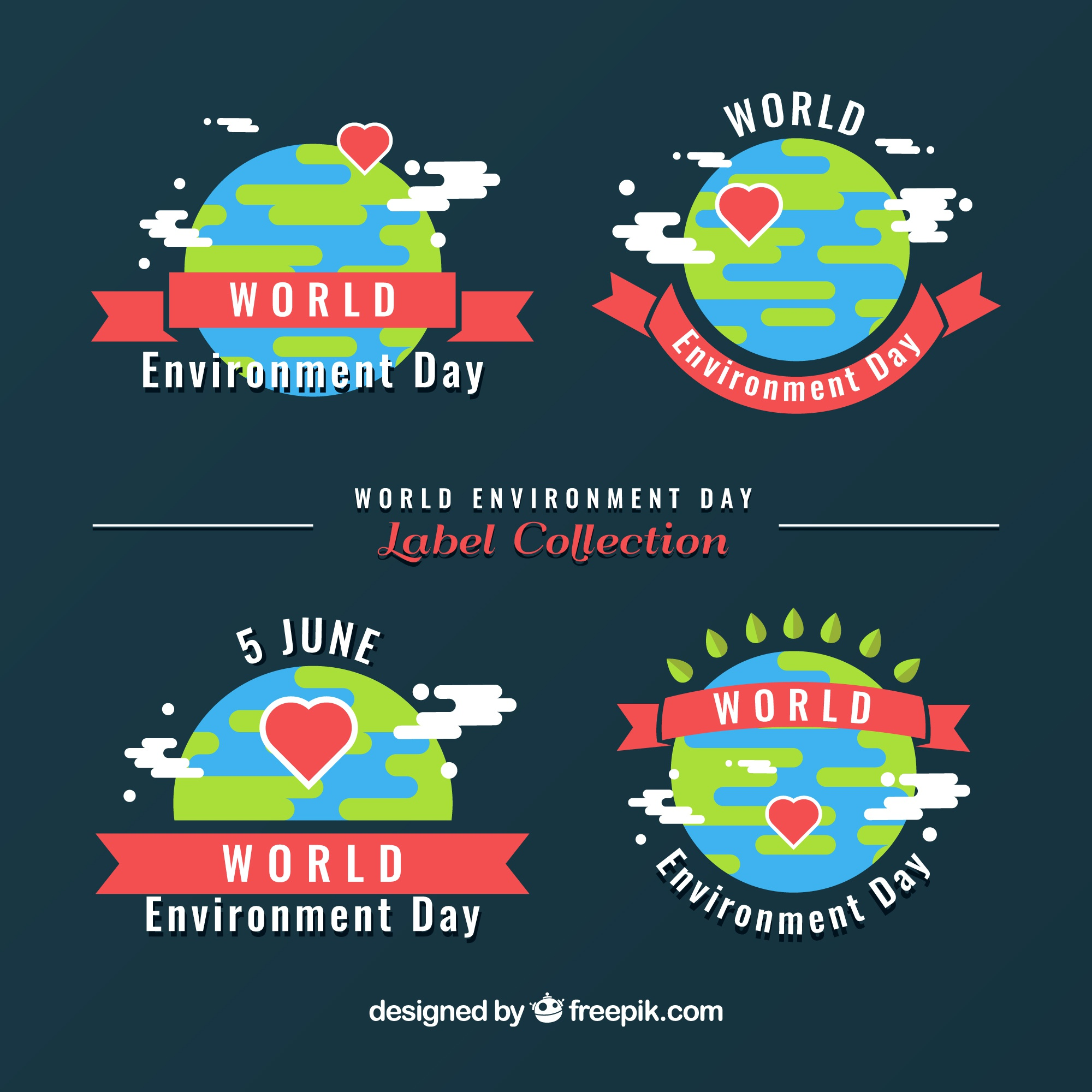 Set of four world environment day labels with ribbons and hearts
