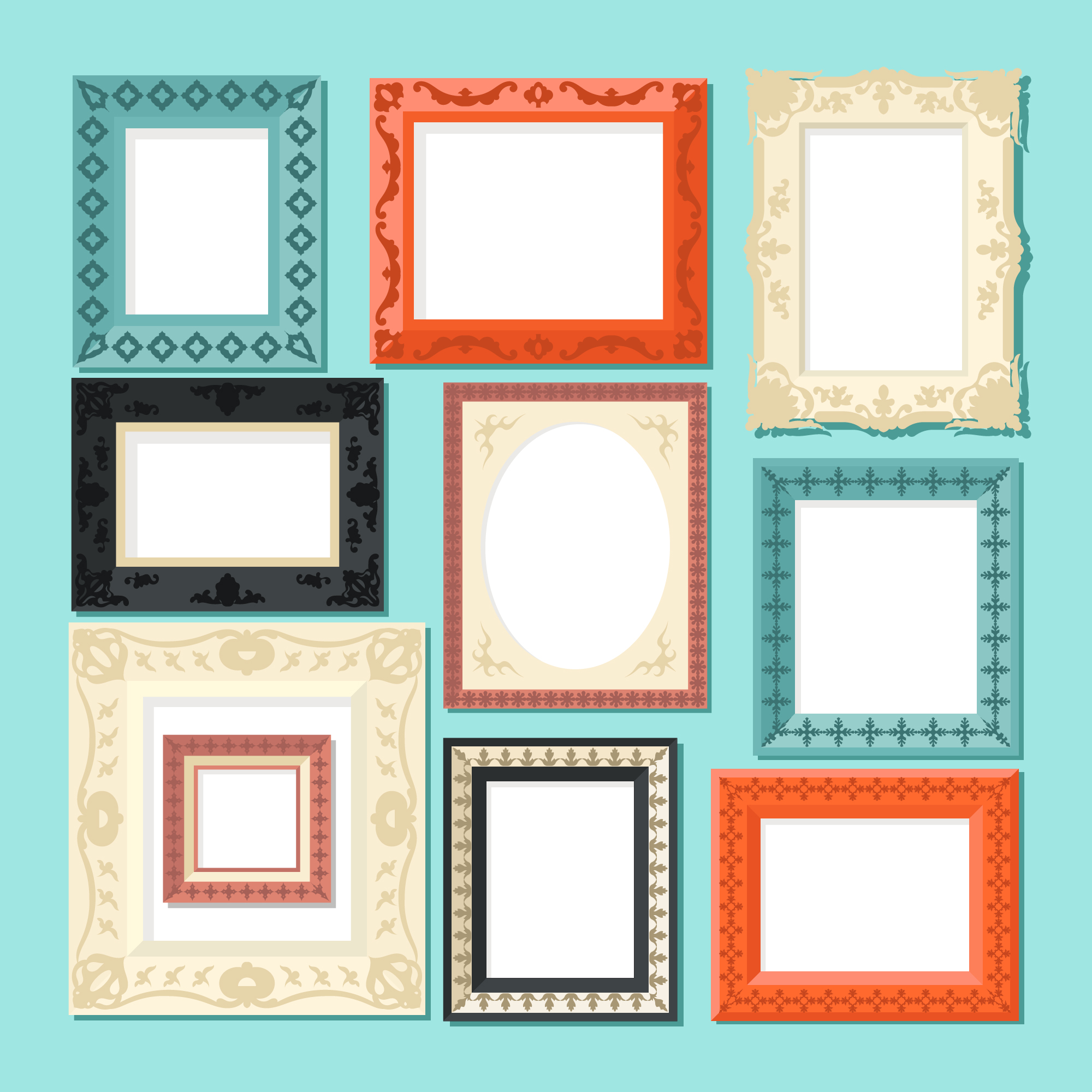 Set of Frames with Ornament in Flat Design