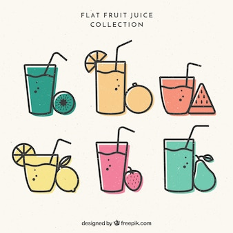 Set of fruit juices in vintage style