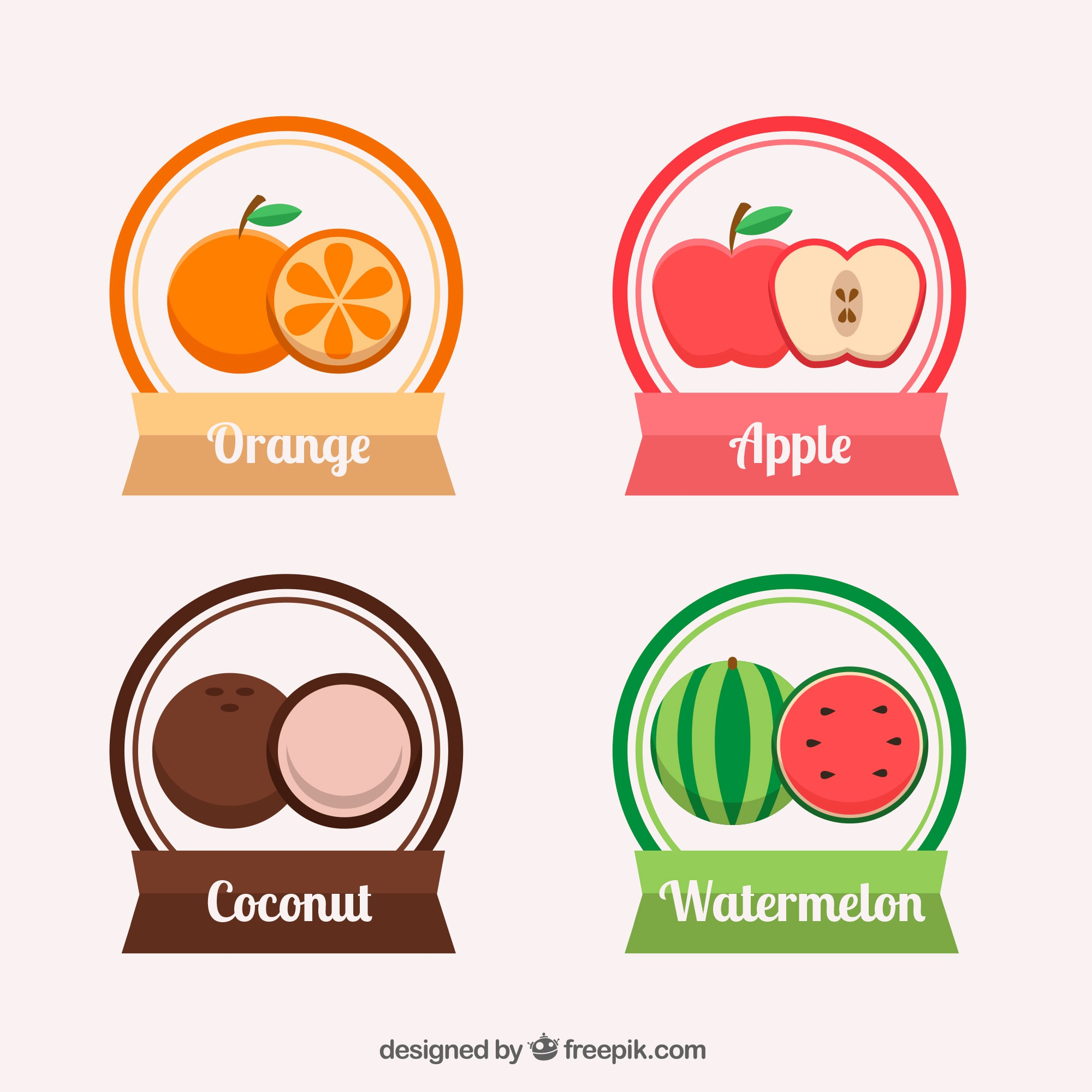 Set of fruit stickers in flat design