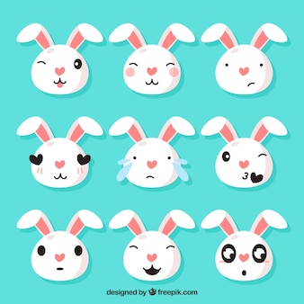 Set of funny bunny emoticons