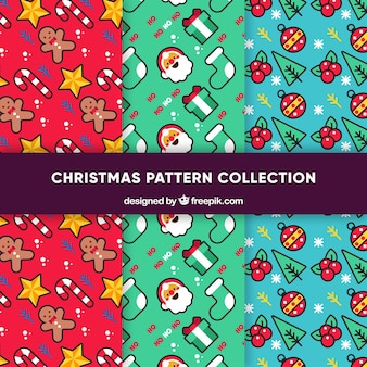 Set of funny christmas patterns