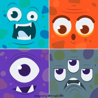 Set of funny faces colored monsters